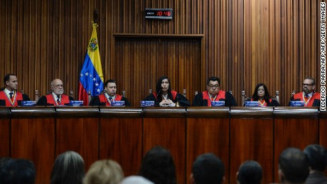 President of the Supreme Court of Justice (TSJ) Gladys Maria Gutierrez (C) delivers a speech during the session to appoint Socorro Elizabeth Hernandez and Tania D'Amelio Cardiet (out frame) as members of the Venezuelan National Electoral Council at the Supreme Court in Caracas on December 14, 2016. / AFP / FEDERICO PARRA        (Photo credit should read FEDERICO PARRA/AFP/Getty Images)