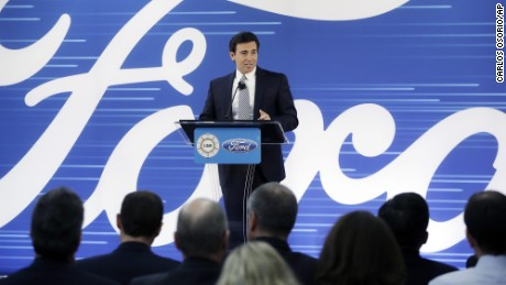 Ford President and CEO Mark Fields addresses the Flat Rock Assembly Tuesday, Jan. 3, 2017, in Flat Rock, Mich. Ford is canceling plans to build a new $1.6 billion factory in Mexico and will invest $700 million in a Michigan plant to build new electric and autonomous vehicles. The factory will get 700 new jobs. (AP Photo/Carlos Osorio)