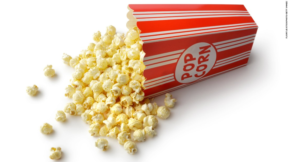 Air-popped popcorn is a healthy, whole-grain, antioxidant-rich snack that's low in calories. But movie theater popcorn, which is popped in coconut oil, is a diet disaster, contributing 1,200 calories and about three days worth of saturated fat for a medium bucket -- and that's without the buttery topping.