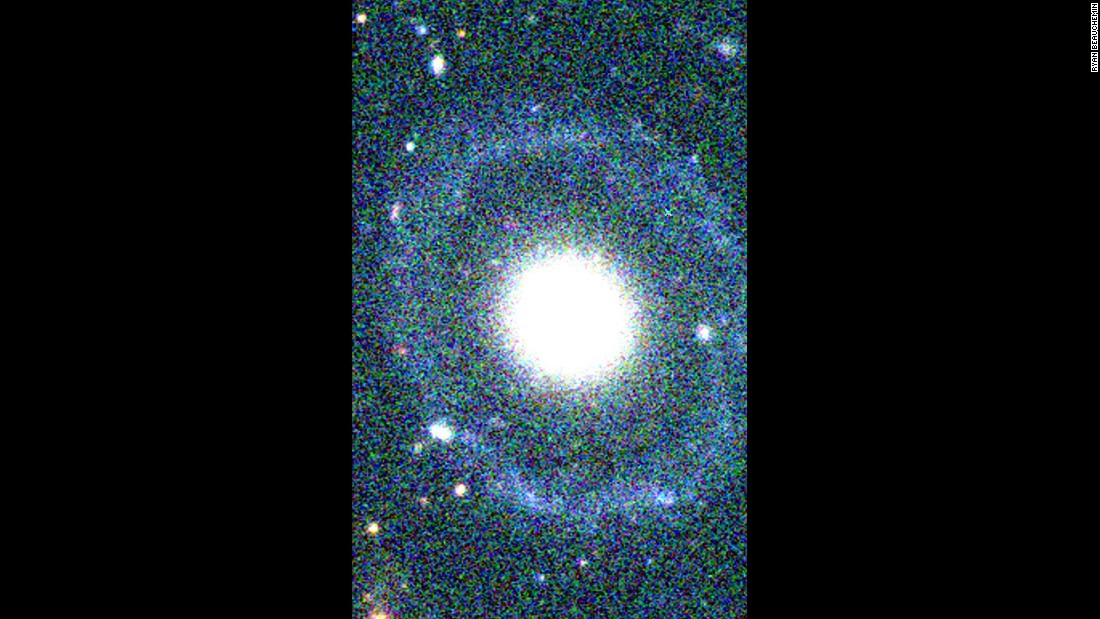 PGC 1000714 was initially thought to be a common elliptical galaxy, but a closer analysis revealed the incredibly rare discovery of a Hoag-type galaxy. It has a round core encircled by two detached rings.
