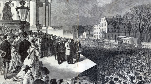 Ulysses S. Grant takes the oath of office in front of a large crowd in 1869. Grant, the former Army general who helped the Union win the Civil War, served two terms.