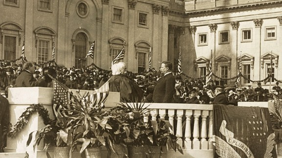 Theodore Roosevelt takes the oath of office in 1901. He was vice president to William McKinley, who died in office. Roosevelt, a distant cousin of future President Franklin D. Roosevelt, was the youngest president in history at 42 years of age. He was re-elected in 1904.