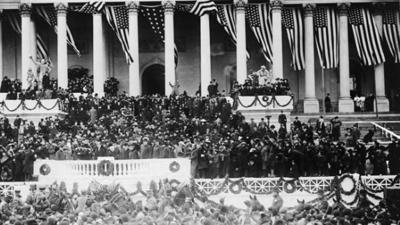 William Howard Taft stands on the inaugural platform after taking the oath of office in 1909. His inauguration was held indoors because of a blizzard the day before.