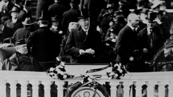 Woodrow Wilson gives his inaugural speech in 1913. Wilson broke with tradition and did not host any inaugural balls.