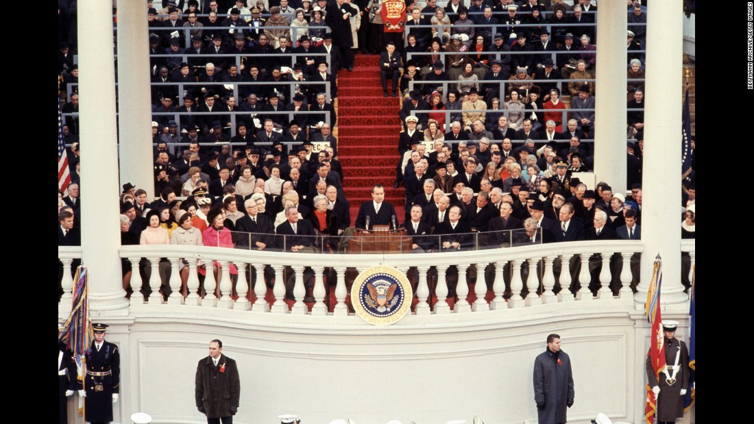 Richard Nixon delivers his inaugural address in 1969. He was re-elected in 1972 but resigned two years after that.
