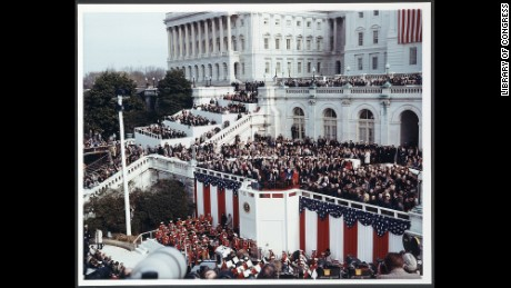 President Ronald Reagan delivering his inaugural address on the west front of the US Capitol, January 20, 1981