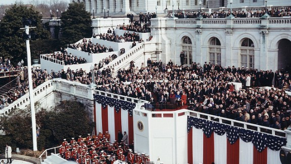 President Ronald Reagan delivers his inaugural address at the US Capitol in 1981. As the ceremony was being held, Iran was releasing 52 American hostages.
