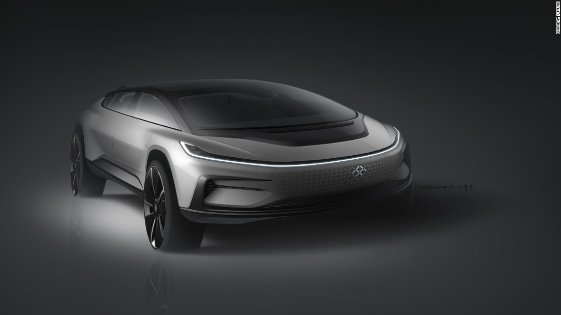 The FF 91 is the company's first production model. Fitted with a 130 kWh battery, Faraday Future says the car has a range of 378 miles (608 kilometers).