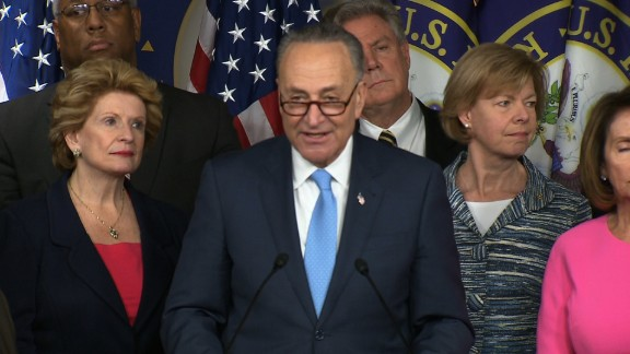 Sen. Chuck Schumer (D-NY) addresses the media about the Democrats