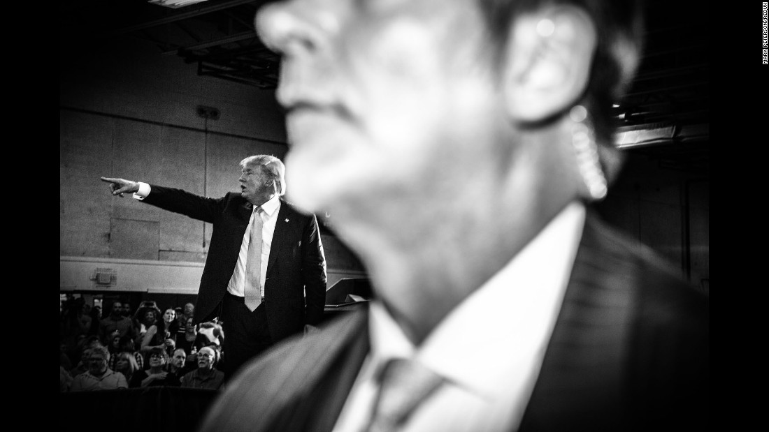 Trump campaigns at a town hall in Rochester, New Hampshire, in September 2015.