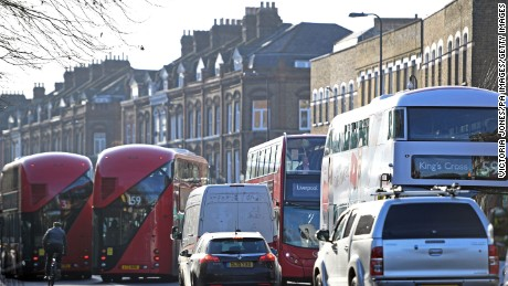 The air pollution limit has been breached on Brixton Road, a south London shopping and transport hub.