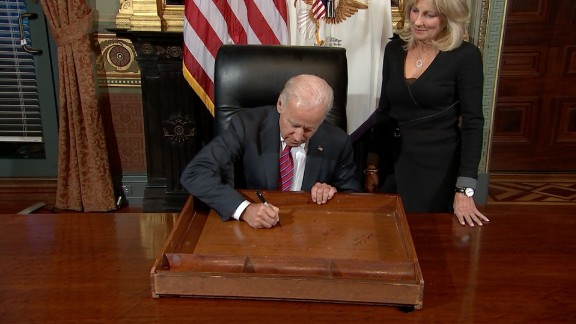 Vice President Joe Biden signed the desk in his ceremonial office Friday, another farewell event for the outgoing administration.