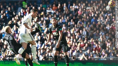 Ronaldo headed home Marcelo's cross for the goal in the rout of Granada, his 17th of the season.