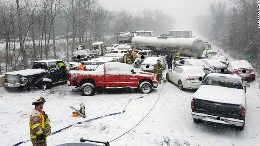 This image provided by the Connecticut State Police shows the scene of a pileup involving as many as 20 vehicles on Interstate 91 in Middletown, Connecticut on Saturday, January 7.  No serious injuries were reported.