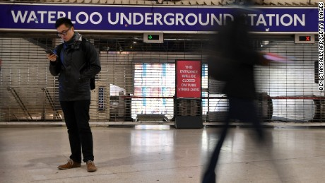 All Underground stations in central London -- including Waterloo -- were closed on Monday morning.