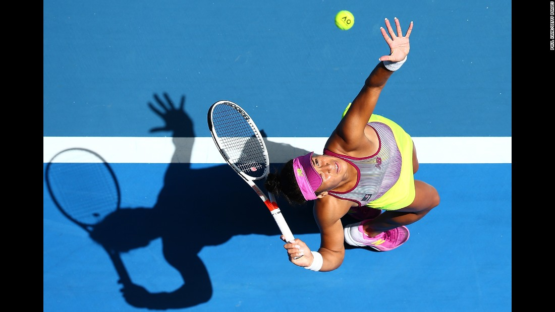 Great Britain's Heather Watson serves during a Hopman Cup match in Perth, Australia, on Friday, January 6.