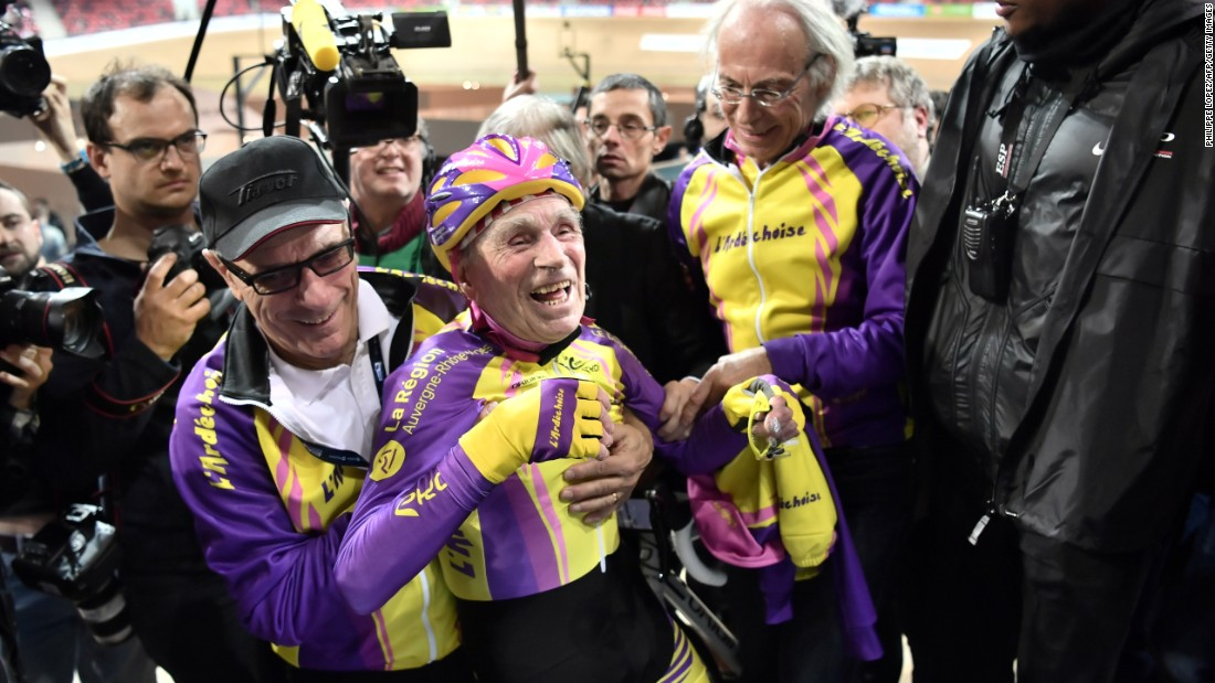 Robert Marchand, 105, reacts after setting a track cycling record for his age group on Wednesday, January 4. Marchand rode 22.547 kilometers (14.010 miles) in an hour.