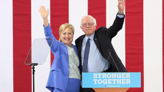 Sanders endorses Clinton at a rally in Portsmouth, New Hampshire, in July 2016.