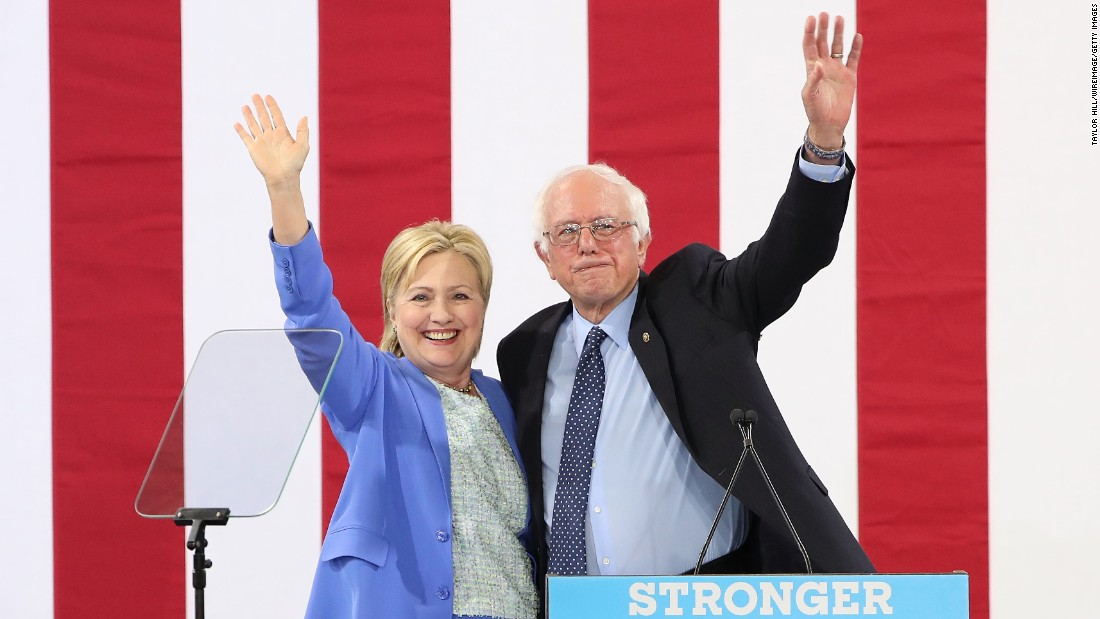 "Sanders <a href=""http://www.cnn.com/2016/07/11/politics/hillary-clinton-bernie-sanders/"" target=""_blank"">endorses</a> Clinton at a rally in Portsmouth, New Hampshire, in July 2016."