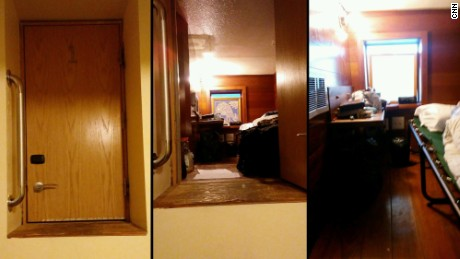 This composite photo shows views of the room where Esteban Santiago was living in Anchorage.