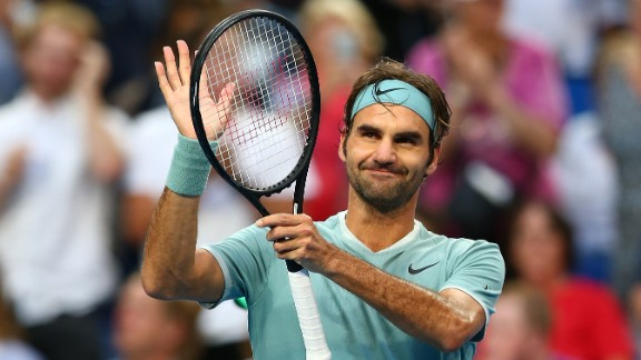 PERTH, AUSTRALIA - JANUARY 06: Roger Federer of Switzerland celebrates after defeating Richard Gasquet of France in the men's singles match during day six of the 2017 Hopman Cup at Perth Arena on January 6, 2017 in Perth, Australia.  (Photo by Paul Kane/Getty Images)