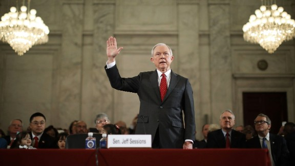 US Sen. Jeff Sessions, Trump's nominee for attorney general, is sworn in during his confirmation hearing in Washington on Tuesday, January 10. Trump and his transition team are in the process of filling high-level positions for the new administration.