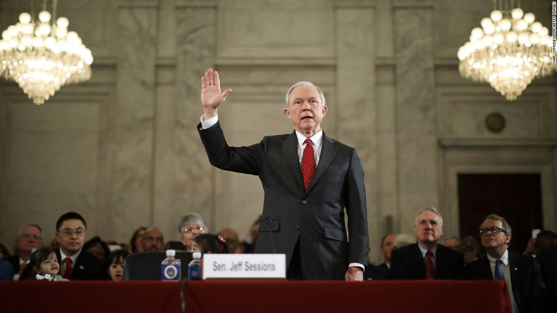 "US Sen. Jeff Sessions, Trump's nominee for attorney general, is sworn in during <a href=""http://www.cnn.com/2017/01/10/politics/trump-cabinet-confirmation-hearings-live/index.html"" target=""_blank"">his confirmation hearing in Washington </a>on Tuesday, January 10. Trump and his transition team are in the process of filling high-level positions for the new administration."
