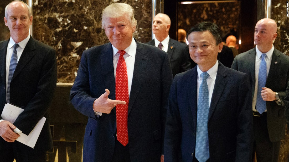 "Trump stands with Alibaba Executive Chairman Jack Ma, Asia's richest man, as they walk to speak with reporters at Trump Tower on January 9. Ma met with Trump to <a href=""http://money.cnn.com/2017/01/09/technology/trump-alibaba-jack-ma/"" target=""_blank"">tease plans for creating ""one million"" jobs</a> in the United States. Trump praised Ma after the meeting as a ""great, great entrepreneur and one of the best in the world."""