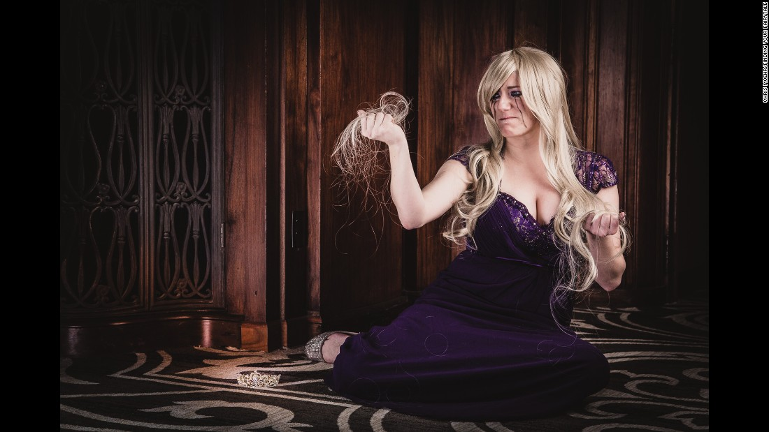 Brittany Flogel, who has baldness, as Rapunzel.