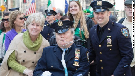 NYPD Officer Steven McDonald, his wife, Patti Ann, and son Conor at the 2016 New York St. Patrick's Day Parade.