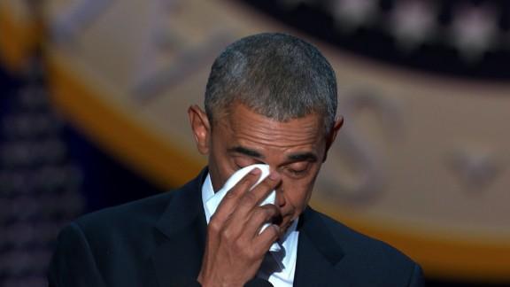 Obama tears up