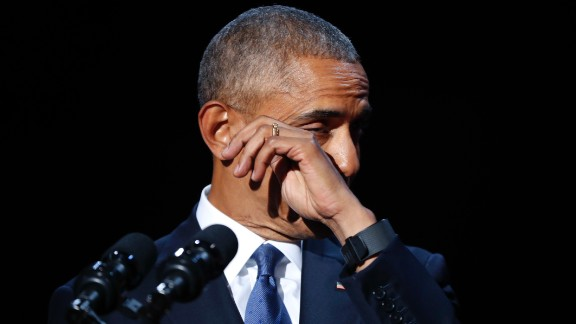 President Barack Obama wipes away tears while speaking during his farewell address at McCormick Place in Chicago, Tuesday, Jan. 10, 2017. (AP Photo/Pablo Martinez Monsivais)