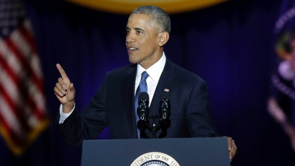 US President Barack Obama speaks during his farewell address in Chicago, Illinois on January 10, 2017. Barack Obama closes the book on his presidency, with a farewell speech in Chicago that will try to lift supporters shaken by Donald Trump