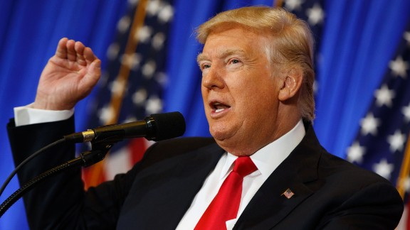 President-elect Donald Trump speaks during a news conference in the lobby of Trump Tower in New York on January 11, 2017.