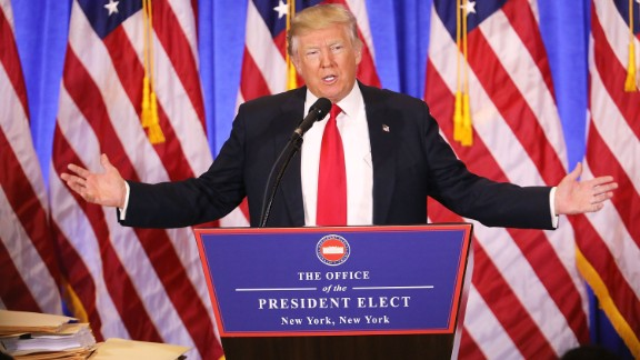 Trump speaks at Trump Tower in New York on Wednesday, January 11. In his first news conference since winning the election, a combative Trump made clear he will not mute his style when he is inaugurated on January 20. He lashed out at media and political foes alike.