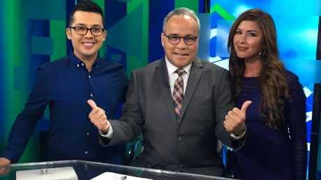 Dr Mark Arellano, Cecilia Gamboa and anchor Camilo Egana
