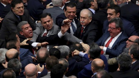 Turkey lawmakers brawl in parliament