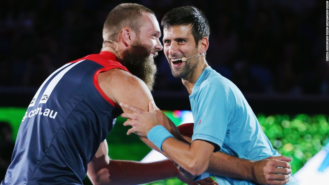 Djokovic then moved onto grappling with star of Australian Rules football -- known as AFL -- Max Gawn.