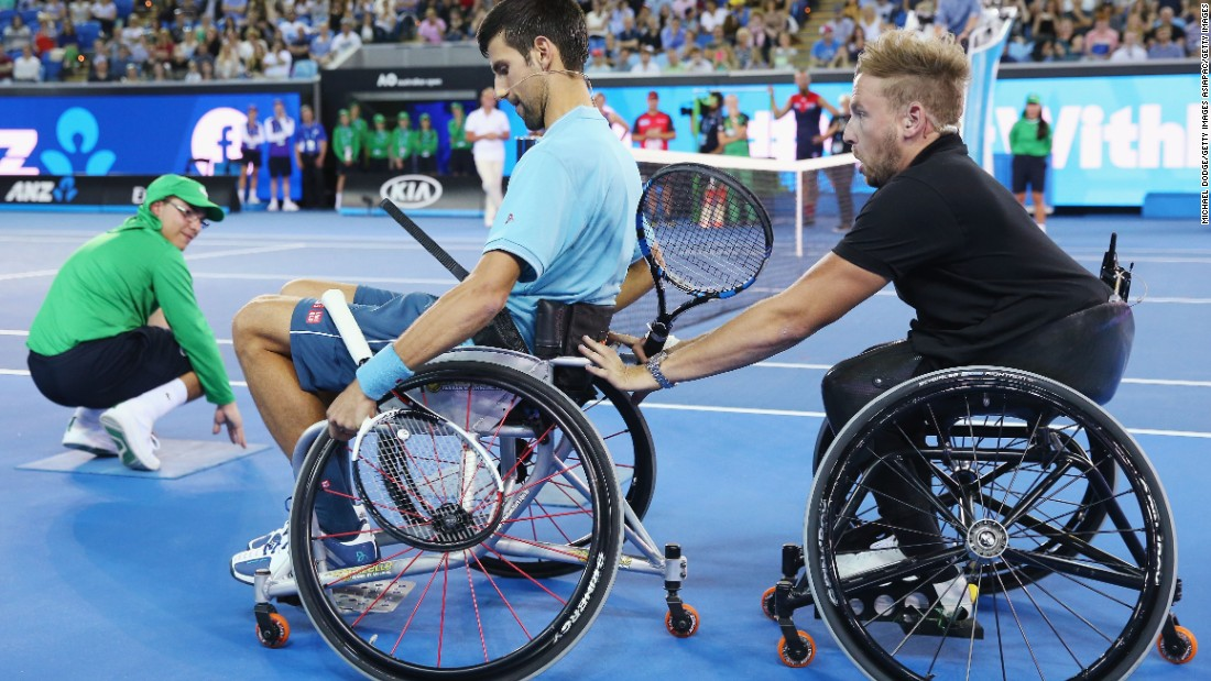 It was back to the sport he knows best as Djokovic then took on three-time Paralympic champion Dylan Alcott at wheelchair tennis.