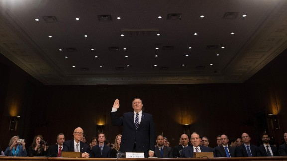 Pompeo is sworn in at his confirmation hearing. Along with Russia, Pompeo said other global threats include Iran