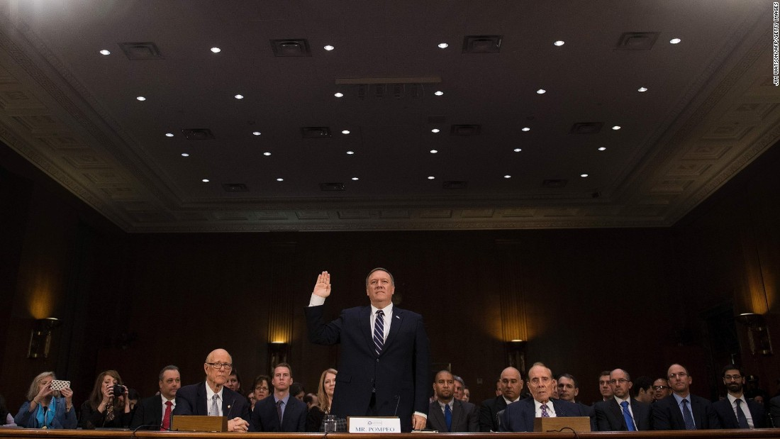 "Pompeo is sworn in at <a href=""http://www.cnn.com/2017/01/12/politics/mike-pompeo-cia-director-hearing-donald-trump/"" target=""_blank"">his confirmation hearing.</a> Along with Russia, Pompeo said other global threats include Iran's growing influence in the Middle East, ISIS' grip over major urban areas, and the conflict in Syria."