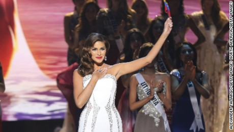 MIAMI, FL - JANUARY 25:  Miss Universe 2014 Gabriela Isler onstage during The 63rd Annual Miss Universe PageanT at Florida International University on January 25, 2015 in Miami, Florida.  (Photo by Alexander Tamargo/Getty Images)