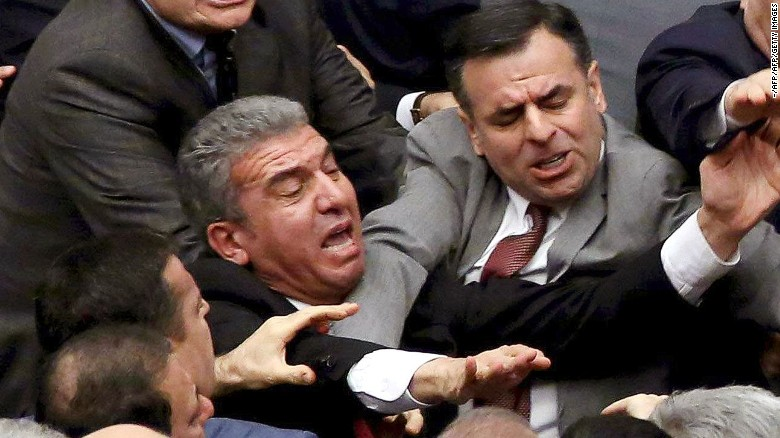 Brawl breaks out in Turkish parliament