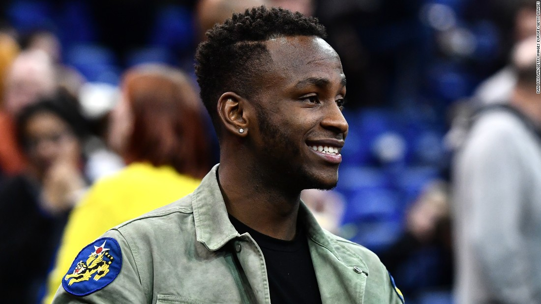 Saido Berahino, of Premier League club West Brom, soaks up the atmosphere.