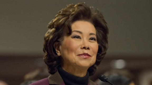 Chao testifies at her confirmation hearing in January. Chao, who was approved by a 93-6 vote, was deputy secretary of transportation under George H.W. Bush and labor secretary under George W. Bush.