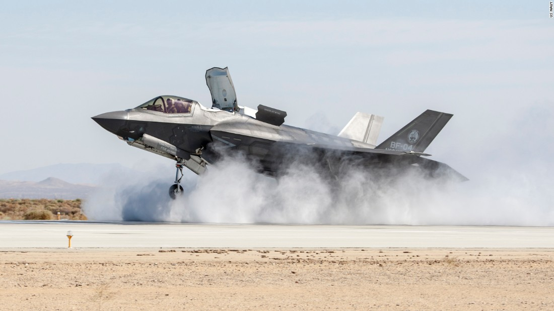 <strong>An F-35B Joint Strike Fighter tests its vertical landing capability in 2015. The fifth-generation jets have been deployed to Marine Corps Air Station Iwakuni in Japan as the US moves some of its most modern equipment to Northeast Asia.</strong>