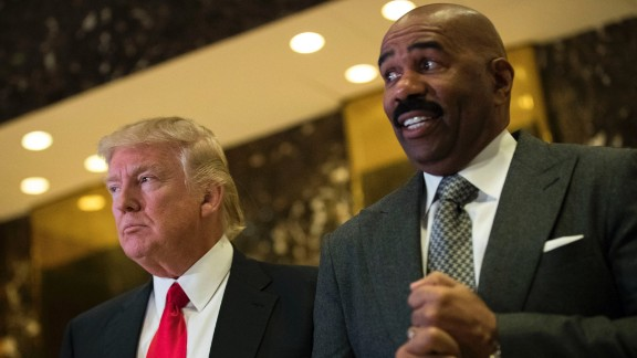 President-elect Donald Trump and television personality Steve Harvey speak to reporters after their meeting at Trump Tower, January 13, 2017 in New York City.
