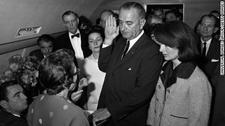 Judge Sarah Hughes swears in Lyndon Baines Johnson as president.