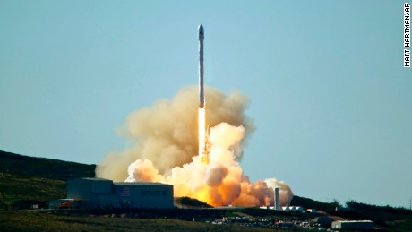 SpaceX's Falcon 9 rocket with 10 satellites  launches at Vandenberg Air Force Base, California on Saturday, January 14, 2017.  The two-stage rocket lifted off  to place 10 satellites into orbit for Iridium Communications Inc.  About nine minutes later, the first stage returned to Earth and landed successfully on a barge in the Pacific Ocean south of Vandenberg.