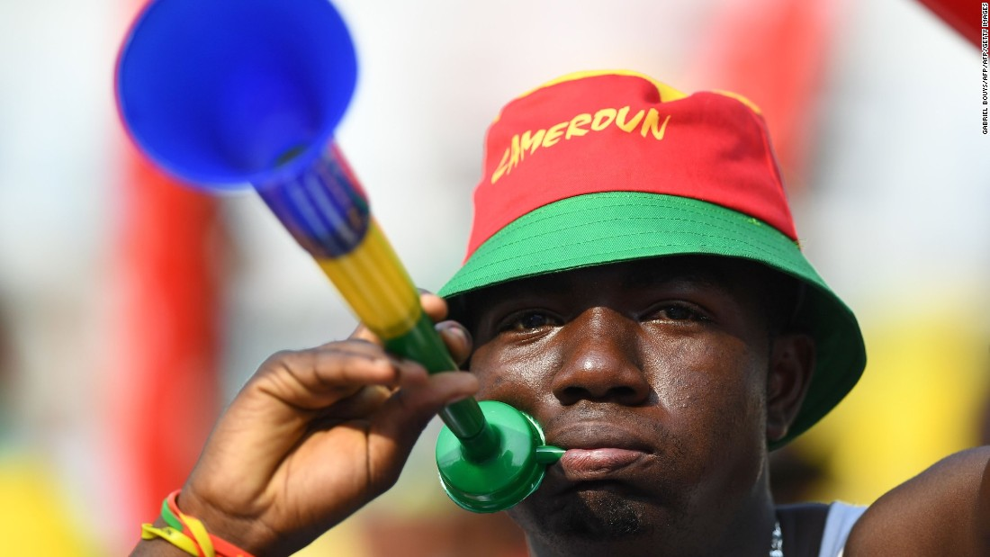 But it wasn't just Gabon fans in attendance. Here, a Cameroon supporter gestures towards the camera. Cameroon was facing Burkina Faso later in the day in Libreville.